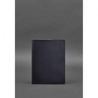Кожаная обложка для блокнота 6.0 (софт-бук) синяя BN-SB-6-navy-blue