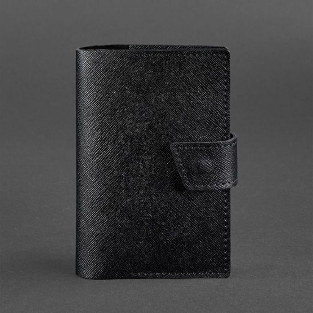 Фото 4Обложка для паспорта на кнопке BlankNote 4.0 Blackwood натуральная кожа portofino чёрная BN-OP-4-blackwood