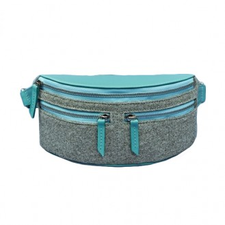 Сумка поясная BlankNote Spirit Фьорд Тиффани фетр + кожа BN-BAG-15-felt-tiffany голубая
