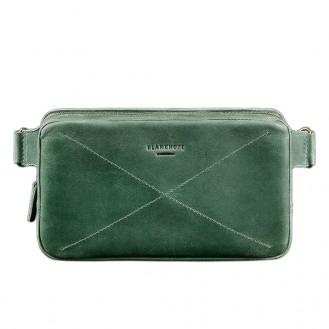 Сумка поясная BlankNote DropBag Maxi Изумруд натуральная кожа BN-BAG-20-iz зелёная