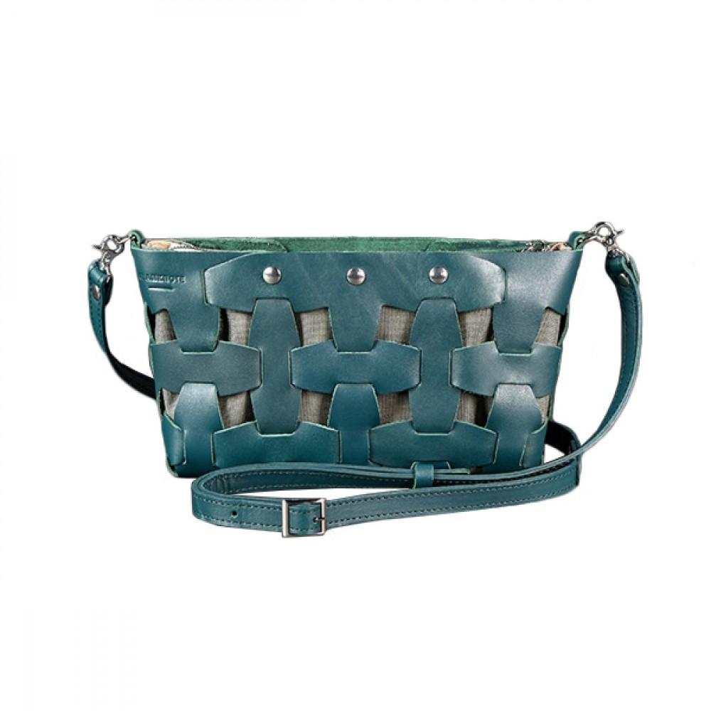 Женская сумка BlankNote Пазл S Малахит натуральная кожа crust BN-BAG-31-malachite тёмно-зелёная