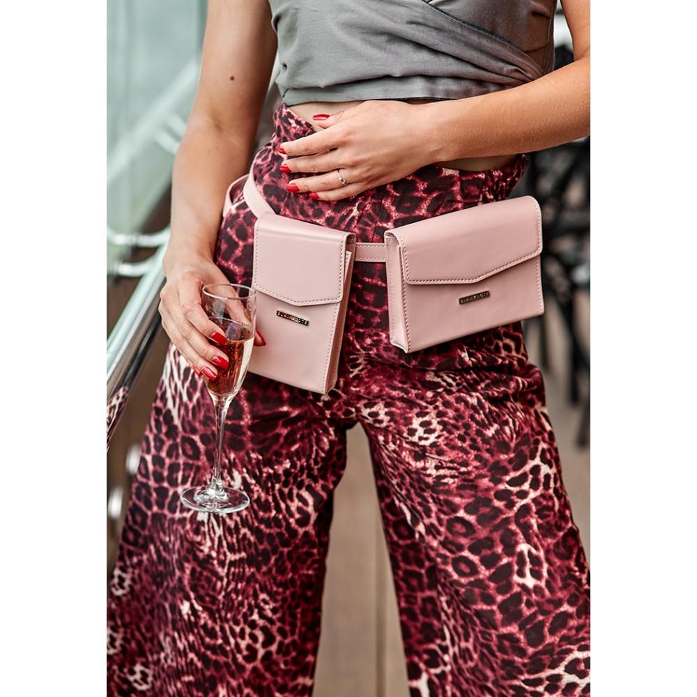 Фото 11Набор сумок поясная/кроссбоди BlankNote Mini Персик натуральная кожа crust розового цвета BN-BAG-38-pink
