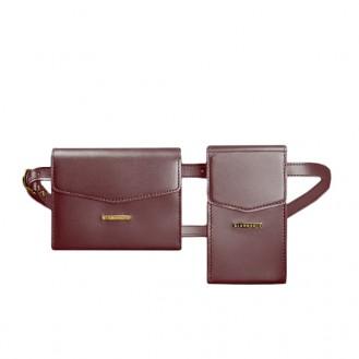 Набор сумок поясная/кроссбоди BlankNote Mini Виноград натуральная кожа crust BN-BAG-38-vin бордового цвета