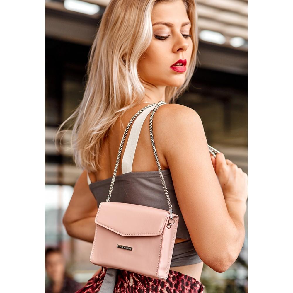 Фото 6Женская сумка поясная/кроссбоди BlankNote Mini (горизонтальная) Персик натуральная кожа crust розовая BN-BAG-38-2-pink