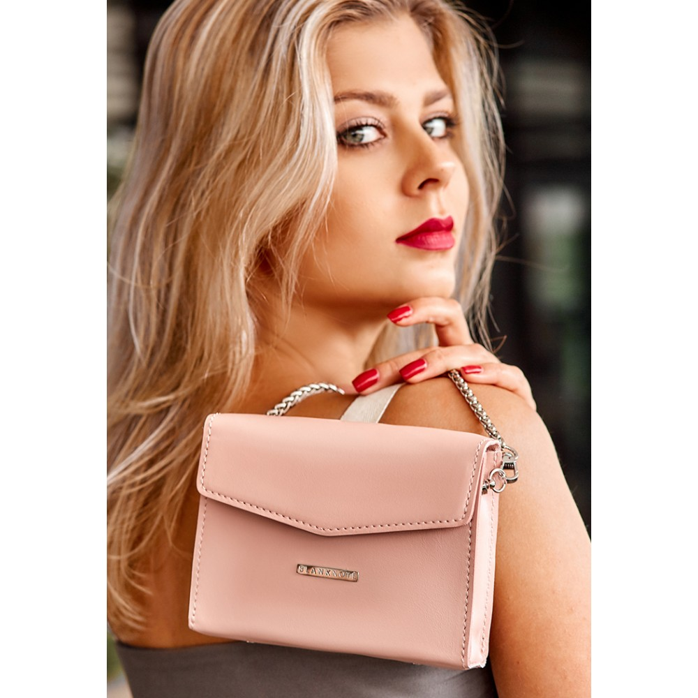 Фото 7Женская сумка поясная/кроссбоди BlankNote Mini (горизонтальная) Персик натуральная кожа crust розовая BN-BAG-38-2-pink