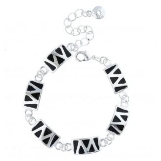 Женский браслет на руку с чёрной эмалью Зигзаг 402802