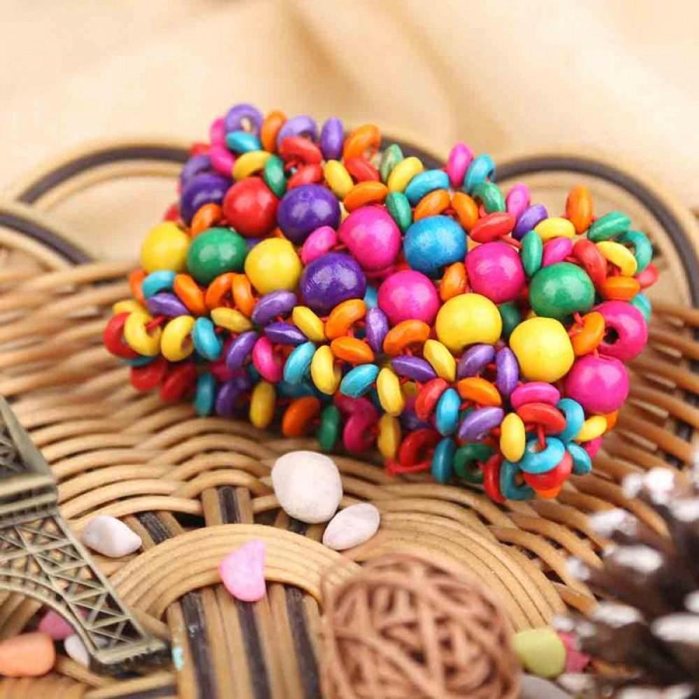 Фото 3Браслет в бохо стиле из деревянных бусин на резинке Цветы разноцветный