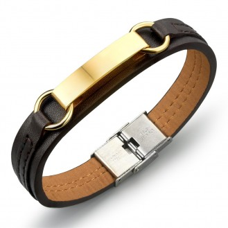 Мужской браслет на руку VELI бижутерия из кожи PU и нержавеющей медицинской стали Fashion коричневый 172146, 20.5 см
