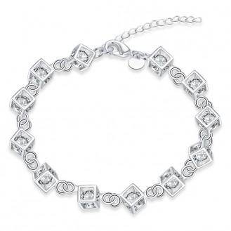Женский браслет VELI бижутерия гальваническое серебрение с белыми кристаллами Кубики Интрига 154930