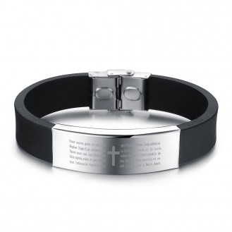 Мужской браслет VELI из силикона и нержавеющей стали с молитвой Отче Наш 172182, 21.0 см