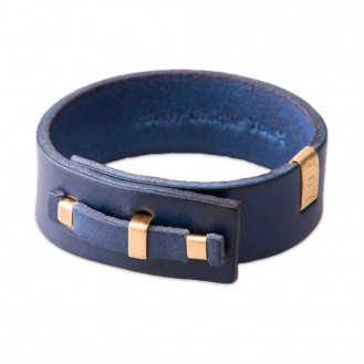 Кожаный браслет в один оборот LUY n-1-one-1 синий, 17.0 см