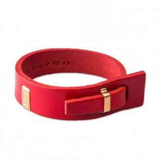 Кожаный браслет в один оборот LUY n-2-one-2 красный, 18.0 см