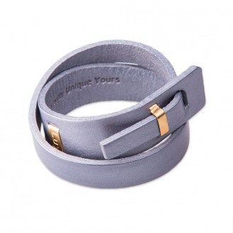 Женский кожаный браслет в два оборота LUY n-2-two-8 серый, 18.0 см