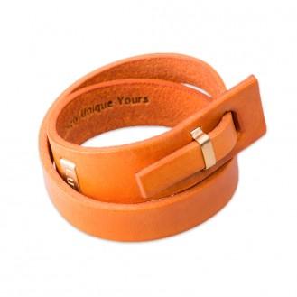 Кожаный браслет в два оборота LUY n-2-two-7 оранжевый, 18.0 см