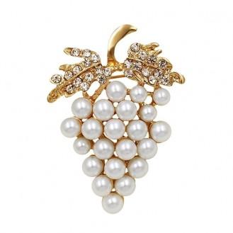 Брошь женская BROCHE бижутерия с белым жемчугом Перла Виноград BR110618