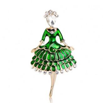Брошь женская BROCHE бижутерия с эмалью Девушка Танцовщица BR110989 зелёная
