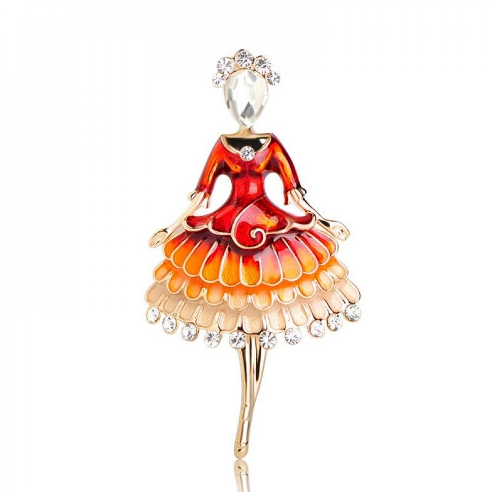 Брошь женская BROCHE бижутерия с эмалью Профессии Девушка Танцовщица красная BRSF110688
