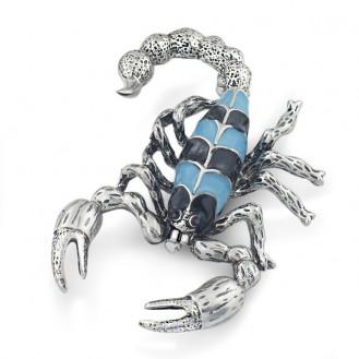 Брошь BROCHE бижутерия с эмалью Насекомые Скорпион BR110438 голубая