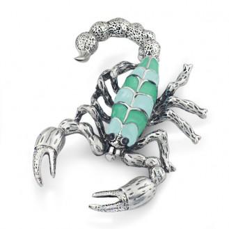 Брошь BROCHE бижутерия с эмалью Насекомые Скорпион BR110494 зелёная