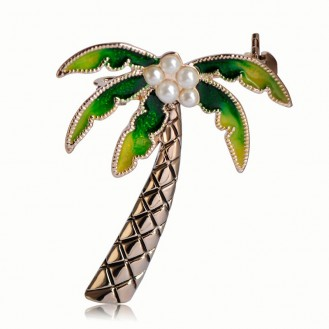 Брошь унисекс BROCHE бижутерия с эмалью Пальма с кокосами BR110525