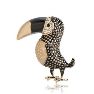 Брошь унисекс BROCHE бижутерия с эмалью Птицы Попугай Тукан BRSF110891 чёрная