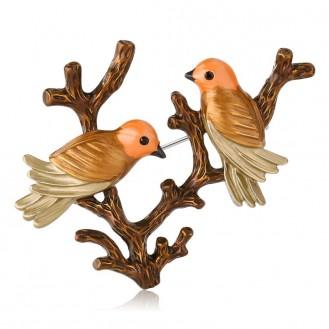 Брошь женская BROCHE бижутерия с эмалью Влюблённые Птички на ветке коричневая BRSF110939
