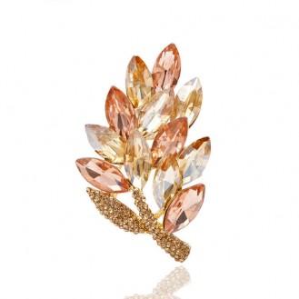 Брошь женская BROCHE бижутерия с кристаллами Осенний лист BRBF111063 золотистая