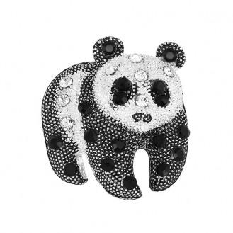 Брошь женская BROCHE бижутерия Животные Панда BR110499 чёрно-белая