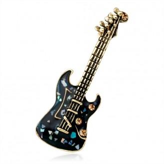 Брошь BROCHE бижутерия с эмалью Мозаика Музыка Гитара BR110417 чёрная