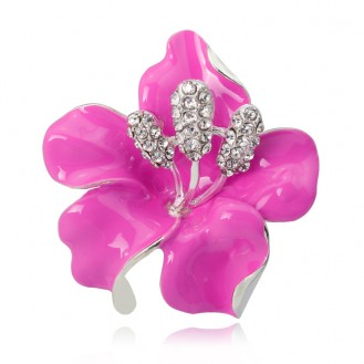 Брошь женская BROCHE бижутерия с эмалью Цветы Лилия BR110755 розовая