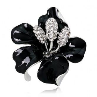 Брошь женская BROCHE бижутерия с эмалью Цветы Лилия BR110389 чёрная
