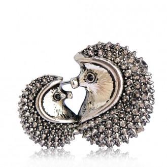 Брошь женская BROCHE бижутерия Влюблённые Ёжики BRSF110328 серебристая
