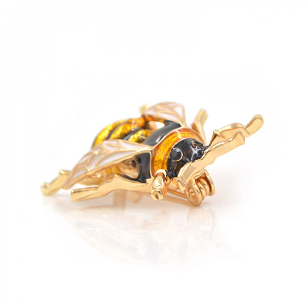 Фото 5Брошь унисекс BROCHE бижутерия с эмалью Насекомые Пчела (без фикстора) BR110422 жёлтая