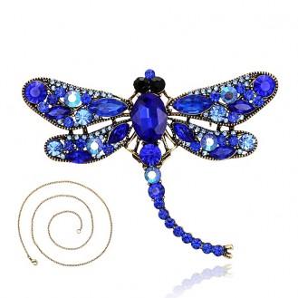 Брошь-кулон крупная BROCHE бижутерия с кристаллами Насекомые Стрекоза BR110749 синяя