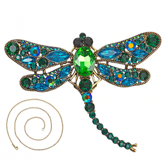 Брошь-кулон крупная BROCHE бижутерия с кристаллами Насекомые Стрекоза BR110597 зелёная