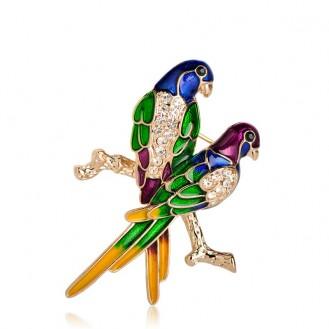 Брошь-кулон женская BROCHE бижутерия с эмалью Две Птички на ветке BRSF111163 зелёная