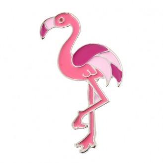 Брошь-значок женская BROCHE бижутерия с эмалью Птицы Фламинго BR110526