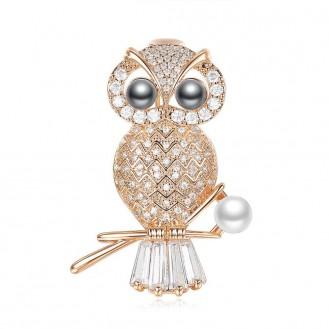 Брошь женская BROCHE бижутерия с кристаллами Птицы Мудрая Сова на ветке золотистая BRBF111972
