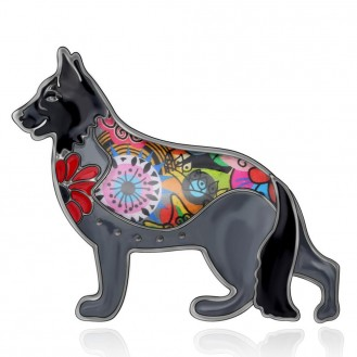 Брошь женская BROCHE бижутерия с эмалью Животные Собаки Овчарка чёрная BRSF112056