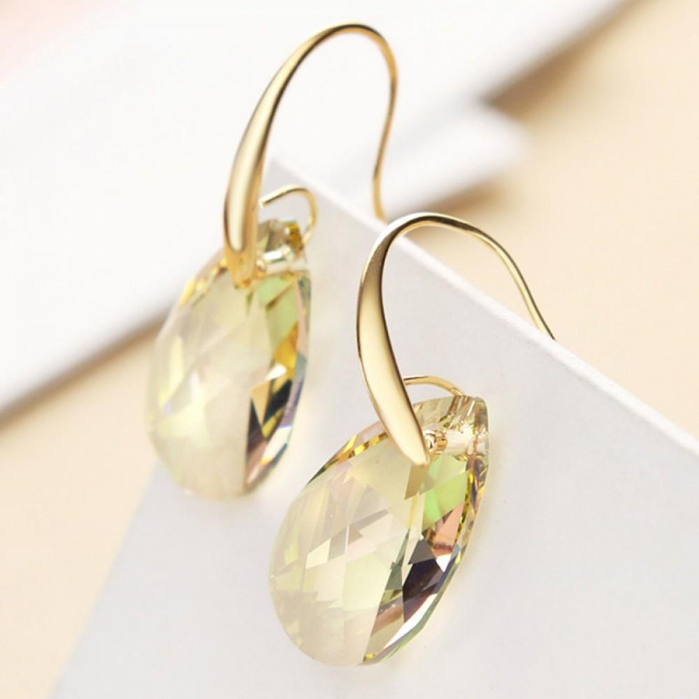 Фото 2Женские серьги VELI бижутерия с кристаллами Амелия жёлтые 161650