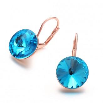 Женские серьги Veli с кристаллами в позолоте Милана 167985 голубые