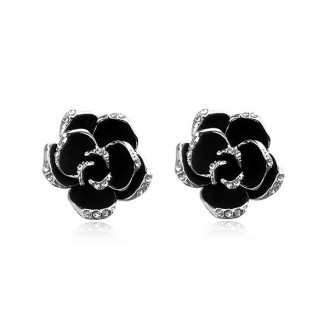 Женские серьги VELI бижутерия с чёрной эмалью Цветы Сверкающие розочки 900038