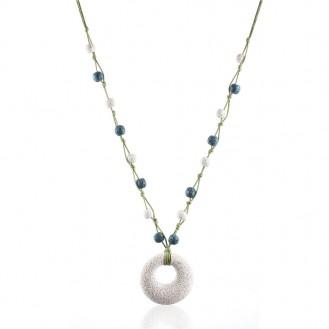 Длинное ожерелье YA.VA Handmade бижутерия из вулканической лавы P0270231 белое
