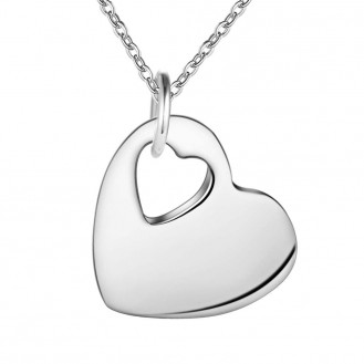 Кулон с цепочкой бижутерия гальваническое серебрение Идеальное сердечко 154853