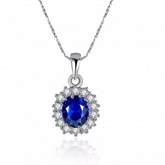 Кулон с цепочкой Veli с синим камнем в позолоте Принцессы Дианы 155044