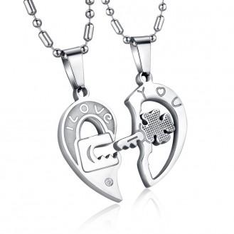 Парные кулоны пазлы Veli из нержавеющей стали с гравировкой I Love You 153032 Silver Edition