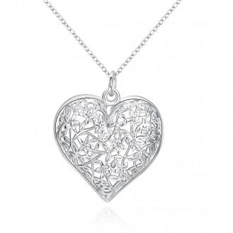 Кулон с цепочкой бижутерия гальваническое серебрение Изящество сердца 155034