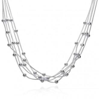 Колье Veli гальваническое серебрение Нити Шариков Amore 160040