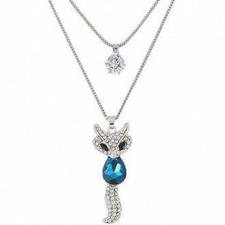 Цепочка с кулоном Лиса P007595 синего цвета
