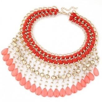 Ожерелье LINA бижутерия с акриловыми каплями P002843 красное
